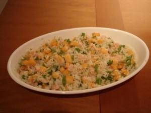 insalata di riso gamberi e melone